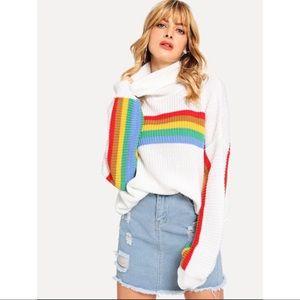 Rainbow/White oversized striped sweater